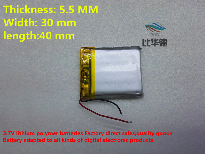 (10pieces/lot) 553040 570mah lithium-ion polymer battery quality goods quality of CE FCC ROHS certification authority(China (Mainland))