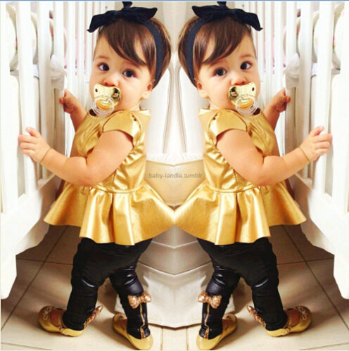 Retail New Style Cute baby girls short sleeve golden horn top +black bow pant 2pcs set fashion cool girl clothes SJ040725(China (Mainland))