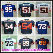 Retro Throwback Jersey 51 Dick Butkus 54 Brian Urlacher 72 William Perry 89 Mike DITKA 90 Julius Peppers 95 Richard Dent Jerseys(China (Mainland))