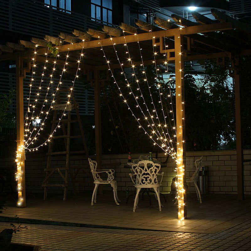 Free Shipping 3Mx3M 300LED Curtain Icicle led String Lights ChristmasNew Year Wedding Party decorative outdoor Lights 220V EU(China (Mainland))