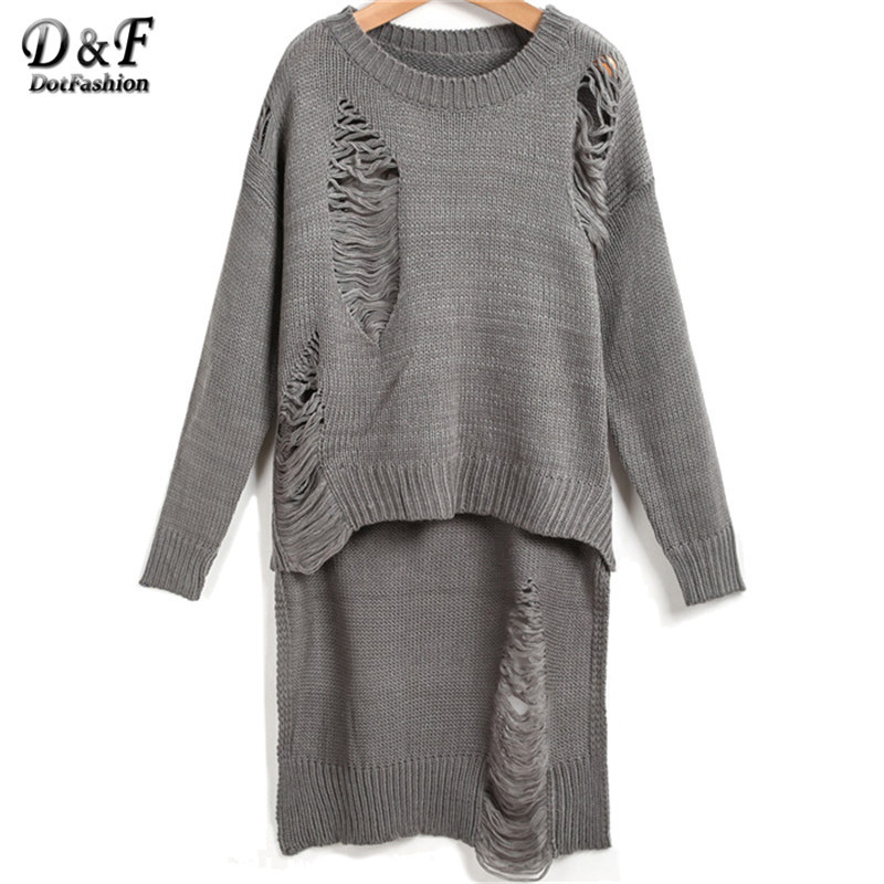 European Style Clothing 2015 New Women O-Neck Knitted Pullover Fashionable Brand Grey Long Sleeve Hollow Dipped Hem Long Sweater(China (Mainland))