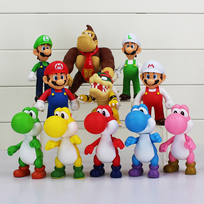 11pcs/set Super Mario Bros PVC Toys Mario Luigi Koopa Bowser Donkey Monkey Yoshi Action Figures Collectible Figurines 8-13cm(China (Mainland))