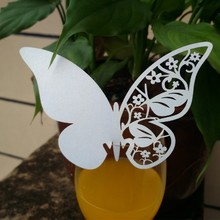 New Ice White 3D Butterfly Place Cards Glass Laser Cut Wedding Party Home Decoration 10pcs/set(China (Mainland))