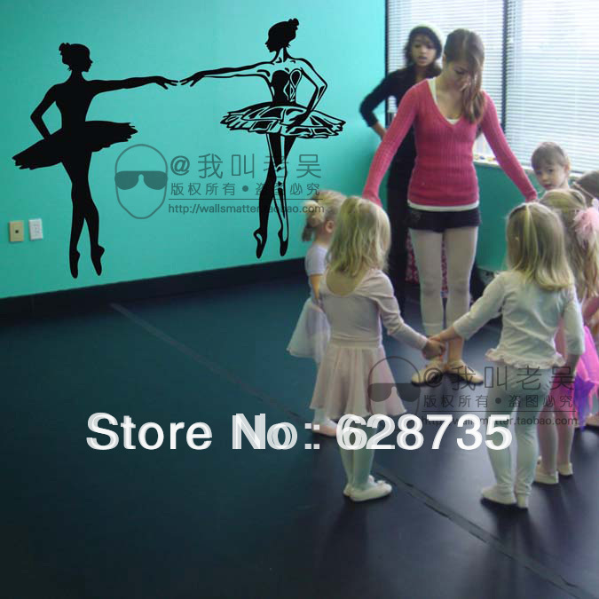 Dancing Ballet Girls Wall Decal Sticker Words for Children Kids Room Dancing Room Dance training sites Free Shipping,95x65cm(China (Mainland))