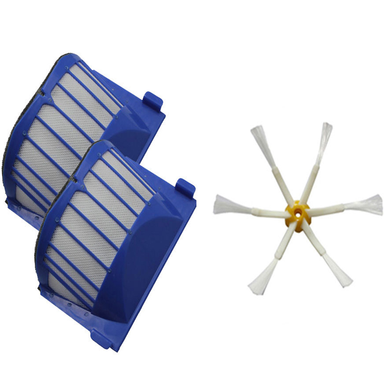 2 x AeroVac Filter + Brush 6 armed for iRobot Roomba 500 600 Series 620 630 650(China (Mainland))