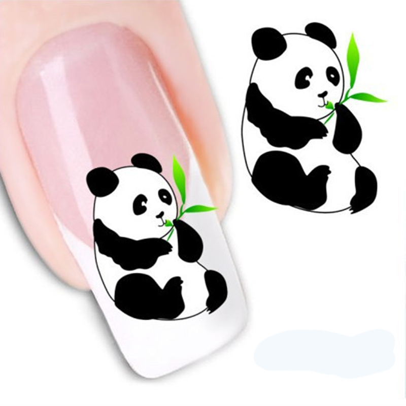 1pcs Beauty New Design 3D Water Decals Transfer Printing Nail Art Sticker For Nails Decals Cute Panda DIY Nail Decoration(China (Mainland))
