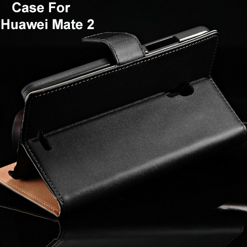 Black Genuine Leather Wallet Style Case Huawei Ascend Mate 2 Luxury Book Cover Flip Stand Card Slot Holder BOB - Technology Co.,Ltd store
