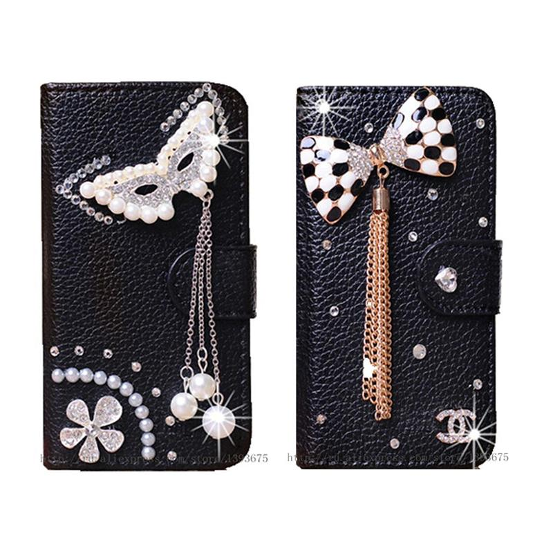 Handmade Phone Cases Diamond Rhinestone Case for Asus Zenfone 2 Laser ZE500KL Leather Wallet DIY Mobile Phone bag with Card slot(China (Mainland))
