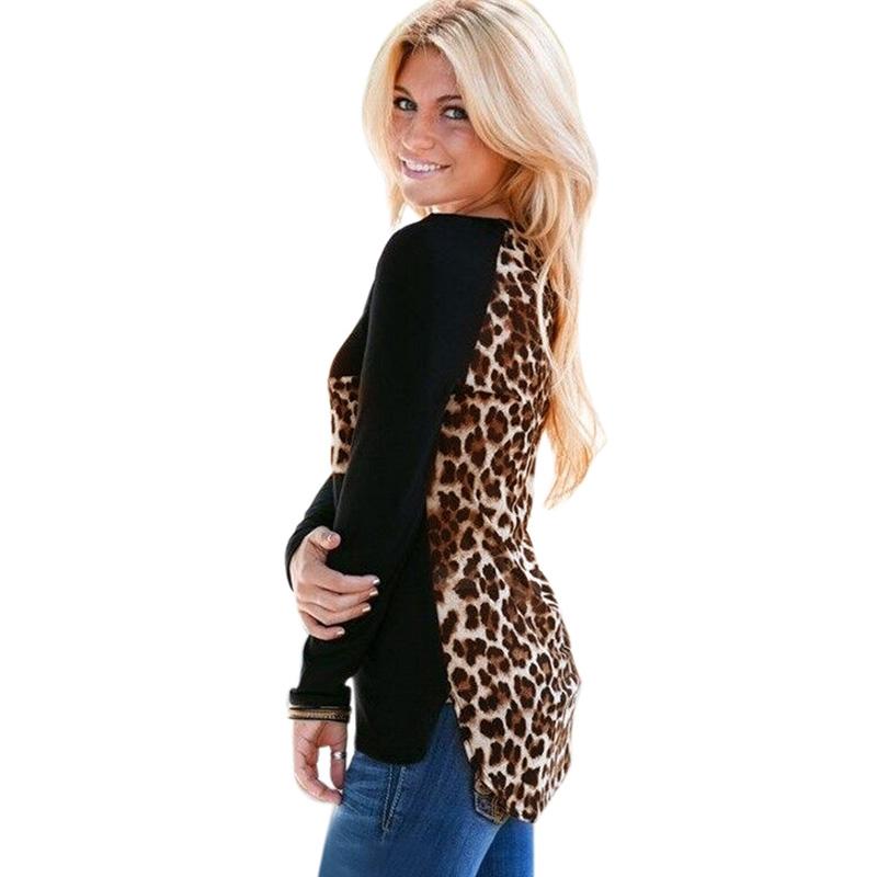 Shelikeit Autumn Winter Blusas 2016 Women Leopard Printed Clothing O Neck Long Sleeve T-shirt Ladies Tops Femininas S-XL(China (Mainland))