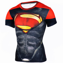 2016 Gym 3D Compression Shirt Fitness Men Superhero Comics Superman Running Quick Dry Tights Clothing Short Sleeve T - GoDeng Co., LTD. store