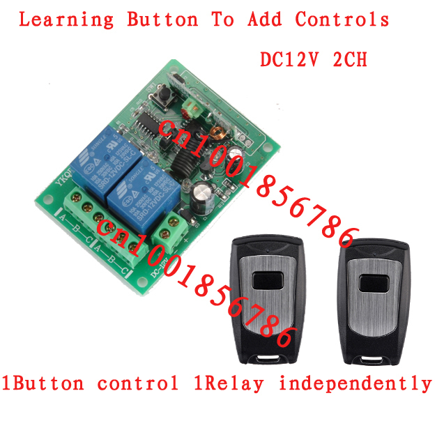12V 2CH Wireless Remote Control Switch System 2 Transmitter & Receiver Controller 315/433MZH Momentary/Toggle/Latched Adjusted(China (Mainland))