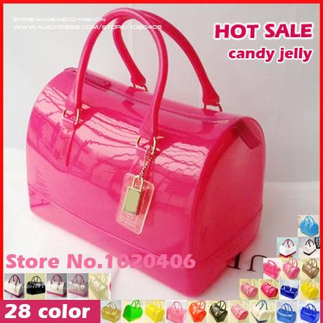 furly candy handbags women bags jelly summer style bolsa feminina Transparent Crystal Beach bag famous designer pvc with lock(China (Mainland))