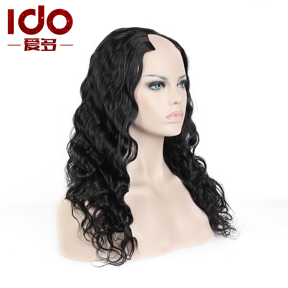 Здесь можно купить  Top Quality Cheap 6A Brazilian Virgin Hair Body Wave U Part Wig 130% Density Natural Black 100% Unprocessed Human Hair Upart Wig  Волосы и аксессуары