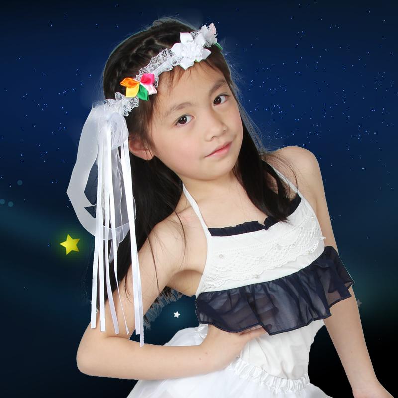 Free shipping ribbon wreath dance party wedding supplies wedding flower girls hair accessories hairpin children's hair bands(China (Mainland))