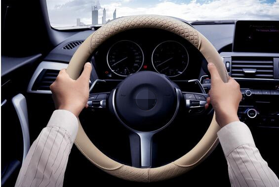 High grade super fiber leather 38cm automotive steering wheel sets of Four Seasons General breathable non slip,car styling(China (Mainland))