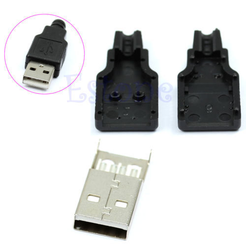 New 10pcs Type A Male USB 4 Pin Plug Socket Connector With Black Plastic Cover