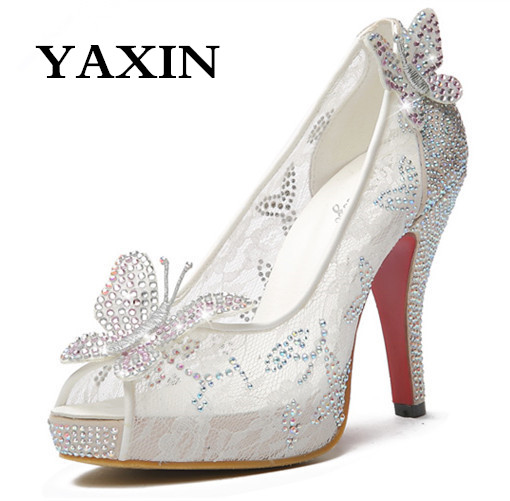 Lace High Thin Heeled Ladies Wedding Shoes Rhinestone Peep Toe Women s Wedding Pumps Platform Butterfly