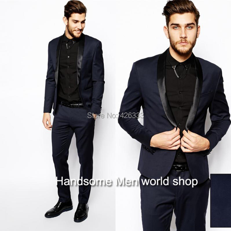 2017 Wholesale New Design One Buttons Navy Blue Groom Tuxedos