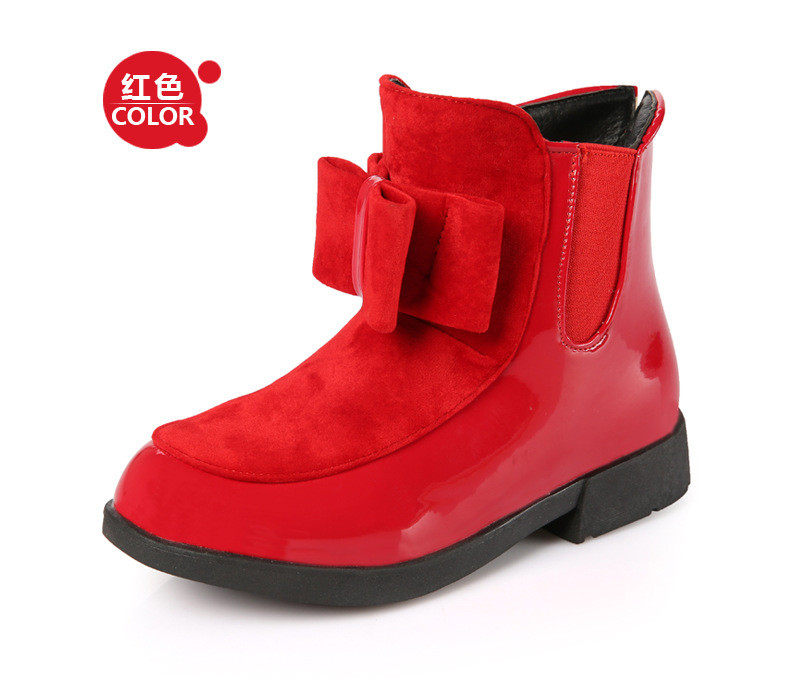 Sweet Kid Girls Leather Fashion Bows Leather Shoes Boots High Heeled Fleece Lining Winter Shoes Martin Boots
