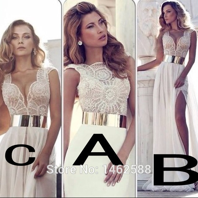 Julie Vino Wedding Dress 2015 Pearl Beaded Top White Chiffon Dresses Beach Custom Made Gold Belt Bridal Gowns - You are the Princess store