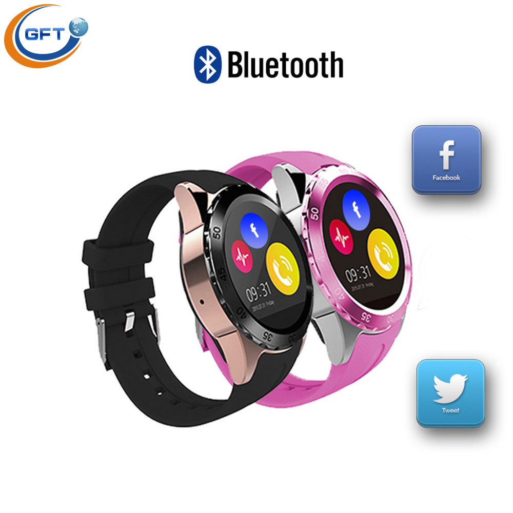 Фотография GFT KW08 wearable devices  Waterproof Bluetooth Smart Watch With Led Alitmeter Music Player Pedometer For Android Smart Phone