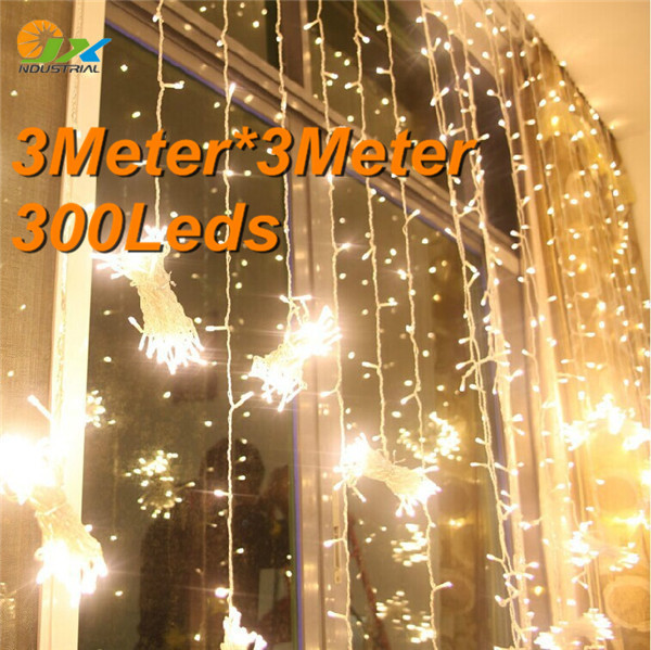 christmas outdoor decoration 3m Droop 3m curtain icicle string led lights 220V New year Garden Xmas Wedding Party 34(China (Mainland))