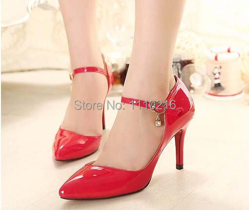 hot 2016 new fashion sexy pointed toe strappy stiletto high heels women's party wedding pumps large size high heeled shoes 36-44
