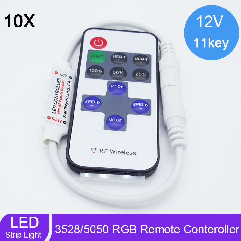 10pcs/lot DC5-24V 12A Mini RF Dimmer Controller 11Keys RF Remote Controll for 3528/5050 Single Color LED Strip Flexible Light<br><br>Aliexpress