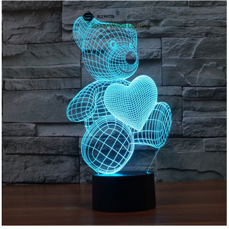 Love Bear touch switch LED 3D lamp ,Visual Illusion 7color changing 5V USB for laptop, desk decoration toy lamp(China (Mainland))