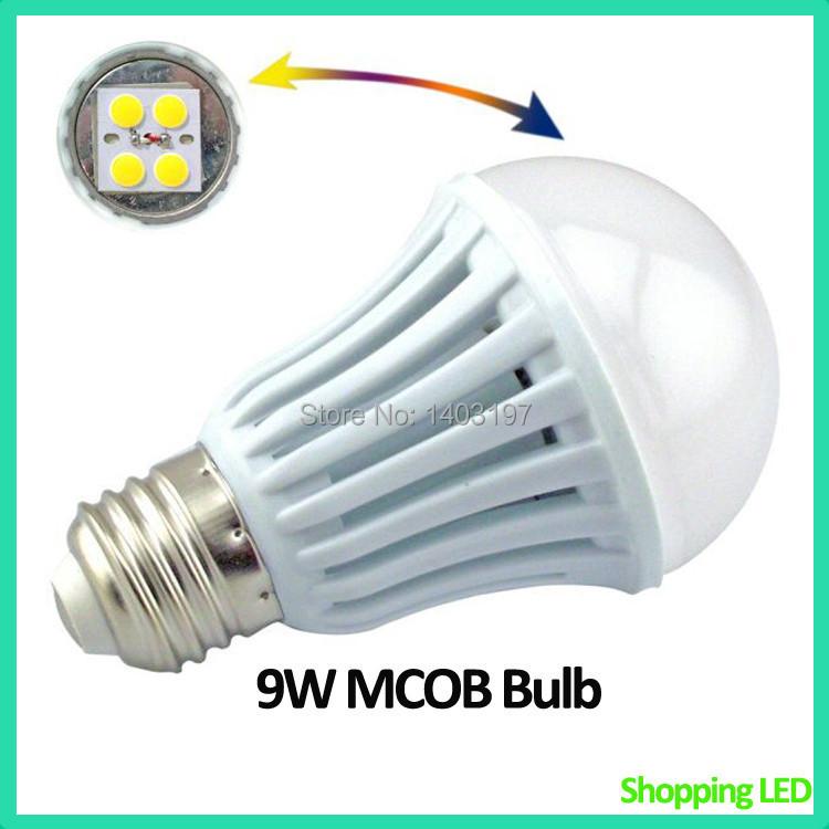 10PCS/Lot Free Shipping 9W E27 LED Bulb 100W Halogen Equivelant LED Globe Bulb 900-950lm LED MCOB Bulb 9W(China (Mainland))