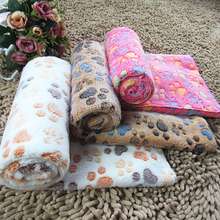 Pet blanket Footprint Pet dog pad kennel cat blanket warm blankets of autumn and winter thick coral velvet blanket 3 colors(China (Mainland))