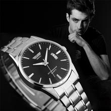Moda lujo acero inoxidable fecha de cuarzo analógico Sport reloj del Mens