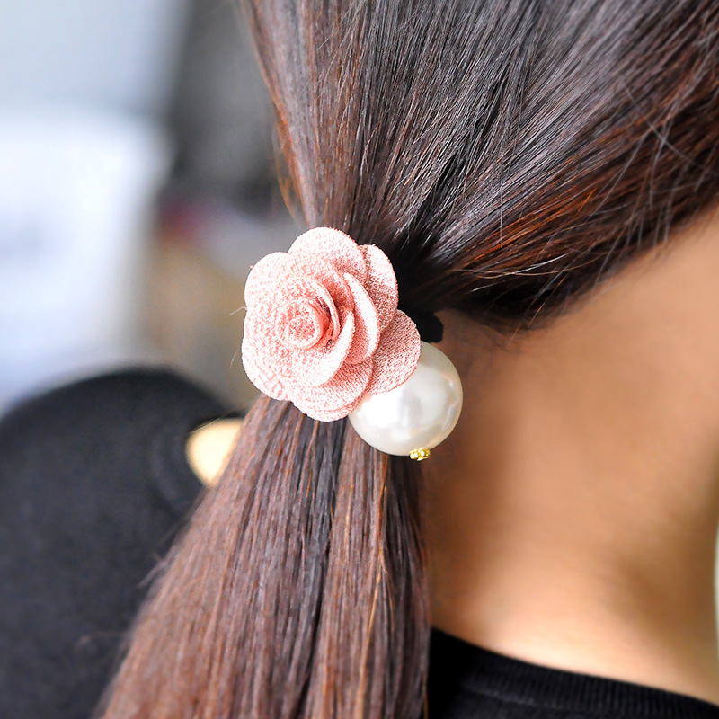 6100 summer style hairband rose pearl head ornaments factory wholesale hair bands ties gum for hair scrunchy accessories(China (Mainland))