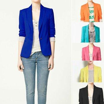 ZA** 2015 Women's One Button Blazer Suits Slim Fitting Design Candy Color Striped Lining  Za036