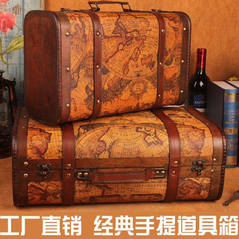 C Boutique explosion models retro suitcase storage box wooden box factory direct shooting props Home Storage(China (Mainland))