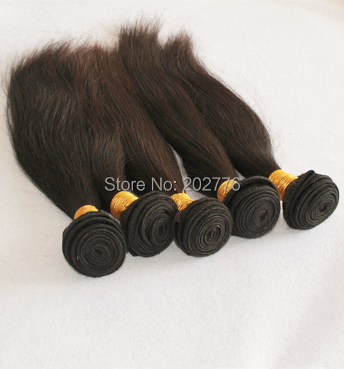 Virgin Hair 6A Grade Straight Human Hair Extensions 8pcs/lot Brazilian  100% Unprocessed Weaves Natural Colour Color Weft<br>