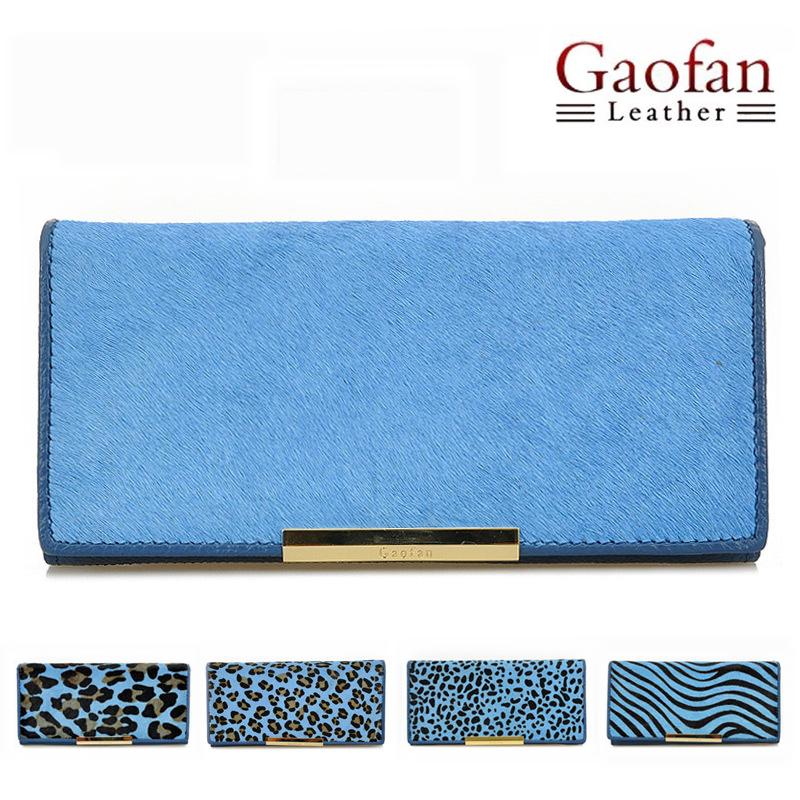 Gaofan blue genuine leather horsehair women's long design wallet clutch handbag bag - Agatha store