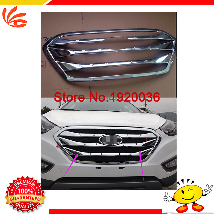 Car styling ABS ChromeFront Grille Around Trim Racing Grills Trim  For TUSSON IX35 2013-2015 car accessories<br><br>Aliexpress