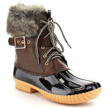 Women's Faux Fur Leather PVC Mixed Colors Ankle Chic Lace Up Buckled Strap Duck Waterproof Winter Snow Booties Rain Boots Shoes(China (Mainland))