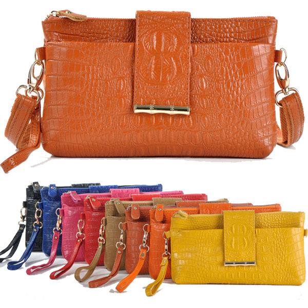 Freeshippping Wristlets Bag Fashion Genuine Leather Handbags Women Aligator Clutch Bag Messenger Shoulder Bags ipad Mini Bags <br><br>Aliexpress