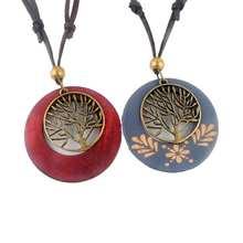Nouveau Maxi collier Vintage colliers pendentifs Femmes Bijoux De Mode collier ras du cou En Alliage Vie Arbre En Bois Collier Pendentif En Bois(China (Mainland))