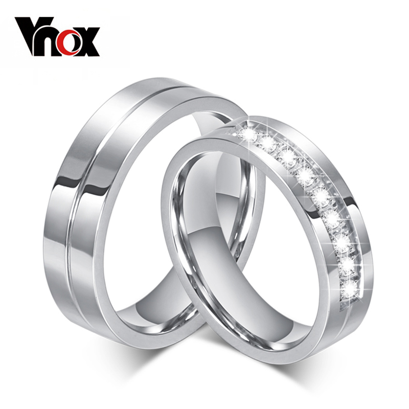 10pcs/lots Wholesale 6mm Wedding Rings Stainless Steel Couple Ring CZ Diamond Provide Mix Size(China (Mainland))