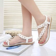 Free shipping !!2015 Bohemia summer sandal shoes pinch the new clip toe flowers flat han edition with beach shoes(China (Mainland))
