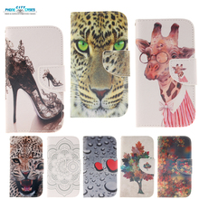 fashion stand clip Flip cover shell For Samsung Galaxy S4 i9500 case PU leather wallet Miss Giraffe cheetah maple leaves Pattern(China (Mainland))