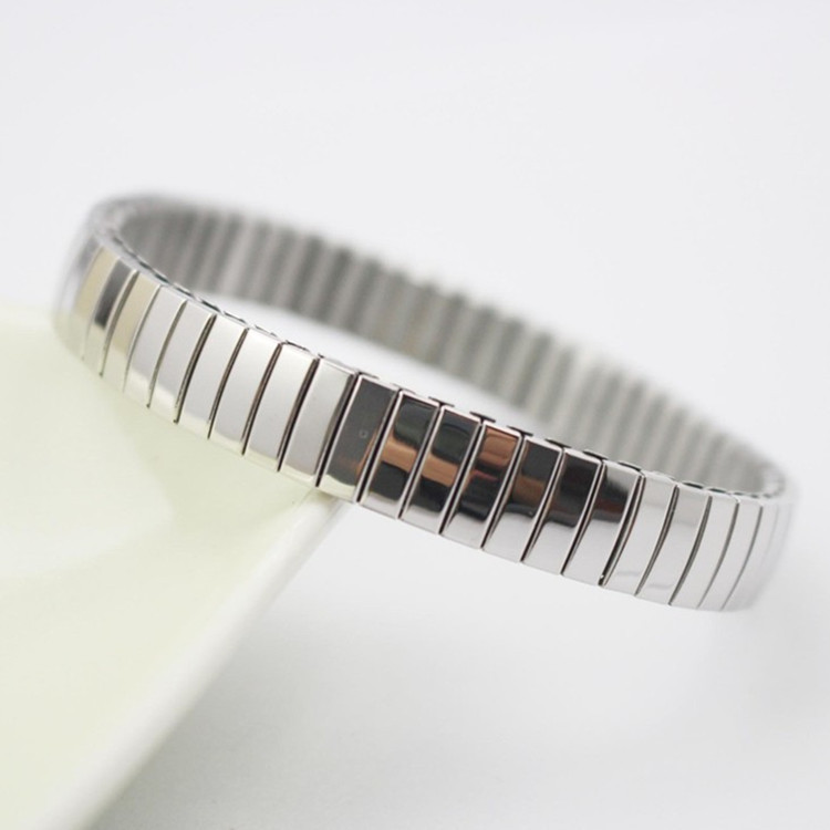 Stainless Steel Jewelry 1pcs Free Shipping Narrow Stripe Casual Silver Elastic Bracelet And Bangle Man Watch Band Link Bracelet(China (Mainland))