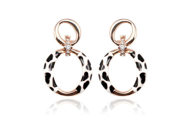 Cubic Zirconia Circle Stud Earrings Luxury Brand Design Rose Gold Plated Punk Earring New Women Cheap Jewelry EEH0124 - MJSZ store Min. Order $ 10 USD