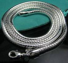 wholesale fashion jewelry 925 stamped silver plated jewelry necklace 3mm snake chain length 40-76cm men jewelry N285