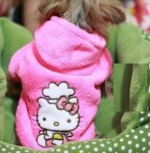 Pink Hello Kitty Pet Dog Cat Hoodie Coat Winter Jackets Warm Fleece Sweaters Puppy Jumpers Dog Clothes XS S M L XL(China (Mainland))