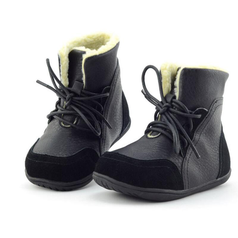 2016 Autumn Winter Season Size 22-33 Warm Waterproof Non-slip Leather Children Boots Girls Boys Shoes Kids - Guangzhou store