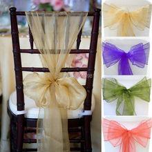 100 PCS Champagne Wedding Organza Chair Cover Sashes Sash Party Banquet Decor Bow Colours(China (Mainland))